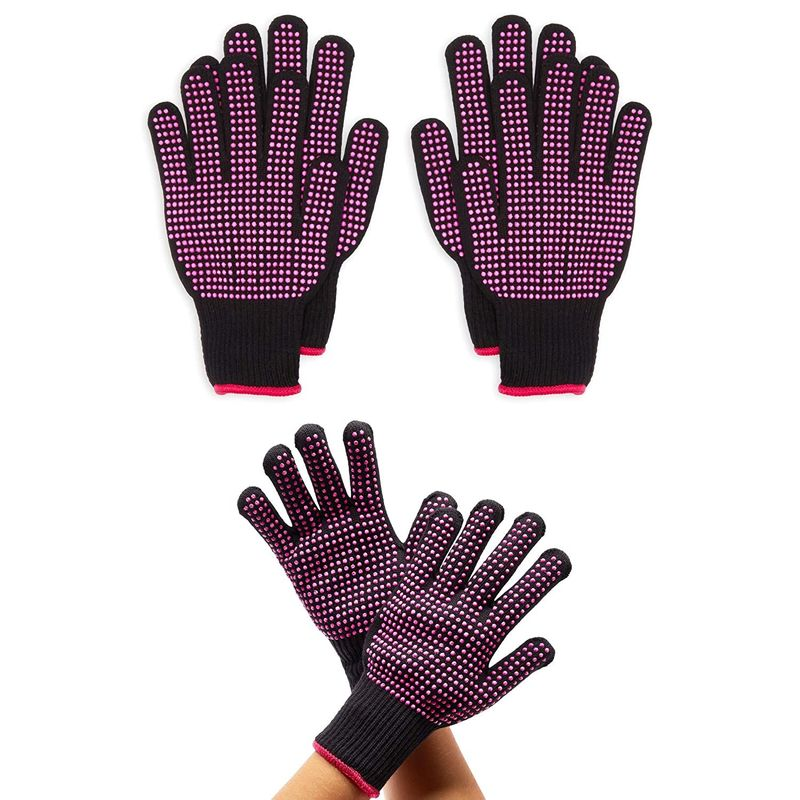 Heat Resistant Gloves for Hair Styling, Curling Iron (Black, Pink, 2 Pairs)