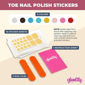 Glitter Toe Nail Polish Strips, Nail Art Sticker Decals for Pedicure (16 Sheets)