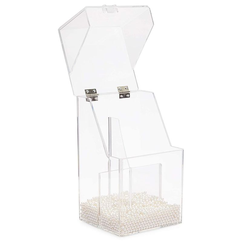 Acrylic Makeup Brush Holder with Lid and Beads Cosmetic Storage Organizer (6 x 5.7 x 9.25 In)