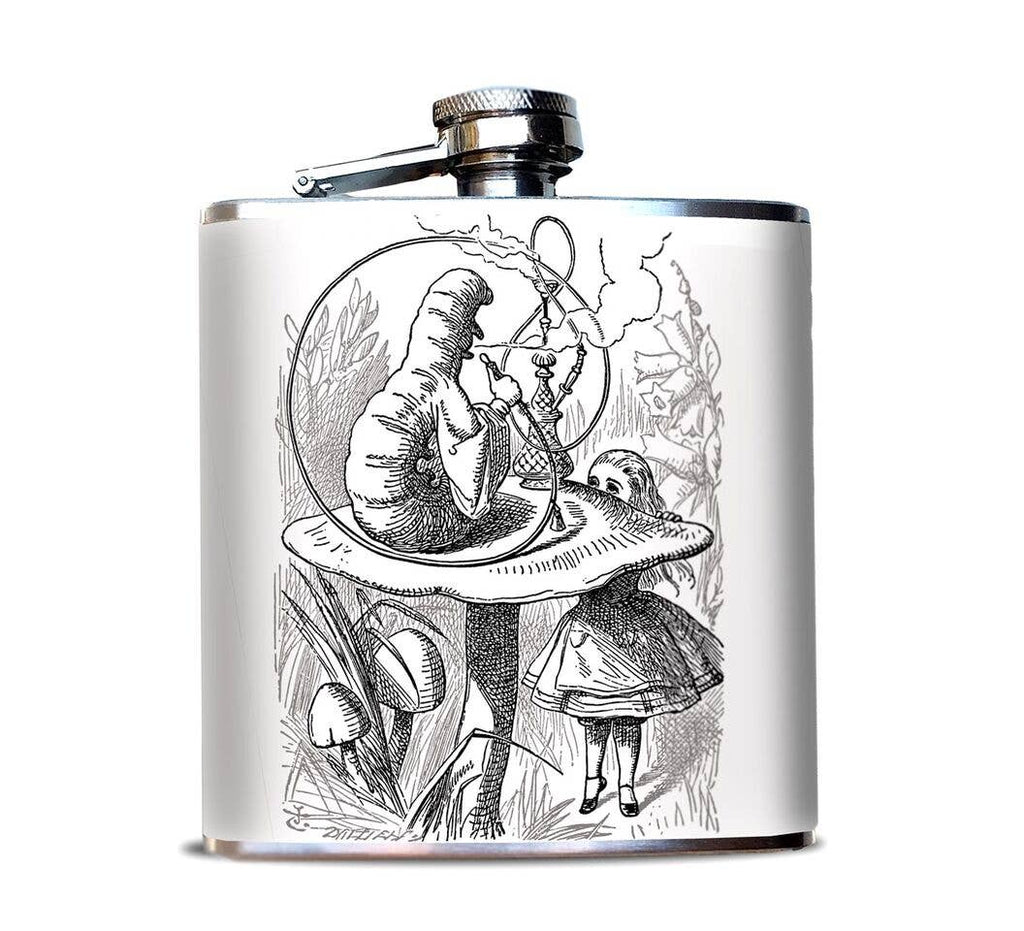 Alice in Wonderland Caterpillar Black and White Flask