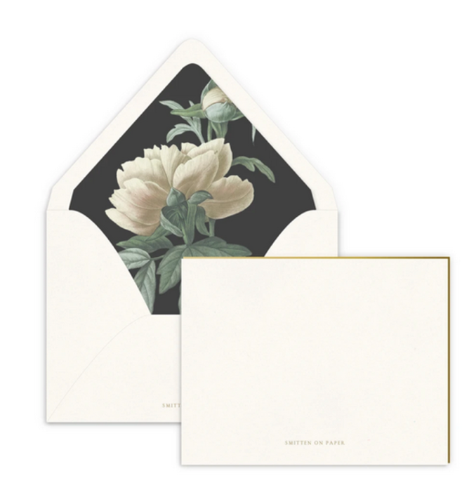 Classic Peony Luxe Lined Note Set- set of 10