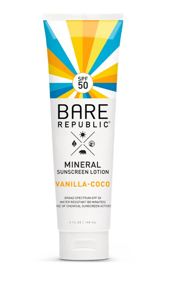 Bare Republic SPF 50 Mineral Sunscreen Lotion- Vanilla Coco