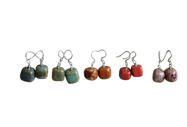 Cube Clay with Silver Hook Earrings