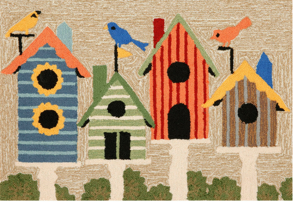Birdhouses Indoor/Outdoor Multi Rug
