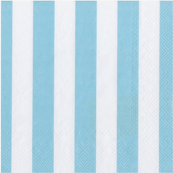 Big Stripes Paper Cocktail Napkins Soft Blue