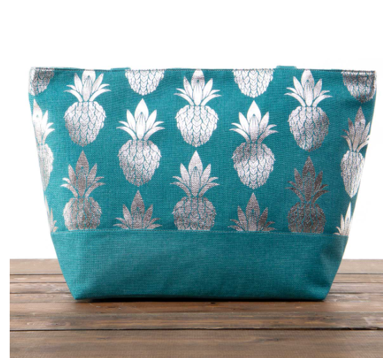 Teal Canvas Bag with Silver Pineapples