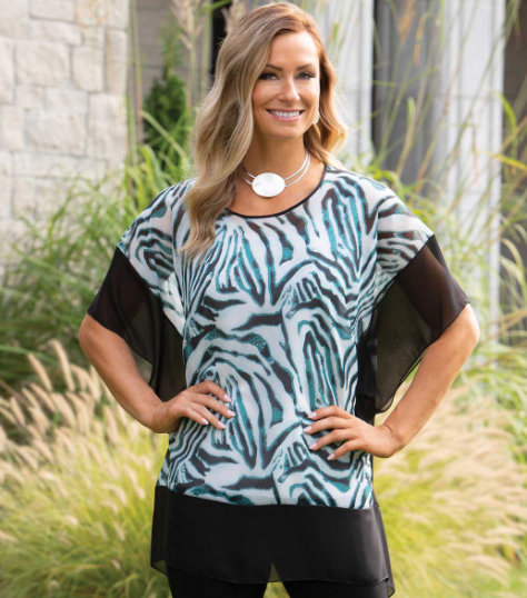 Block Tunic with Teal Zebra Print and Black Trim