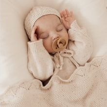 Load image into Gallery viewer, HEIRLOOM KNIT ROMPER + BONNET SET