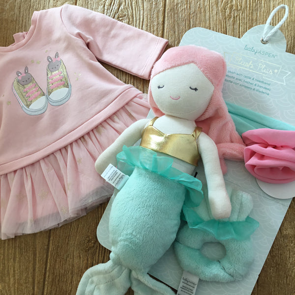 BA Mermaid Plush with Rattle and Headband