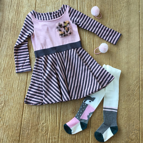 DPD C20H91 Pink Striped Cotton Dress