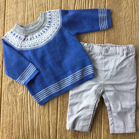 MYL 2525 42 Blue Knit 2Pc Set