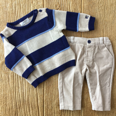 MYL 2523 73 2pc Striped Sweater Set