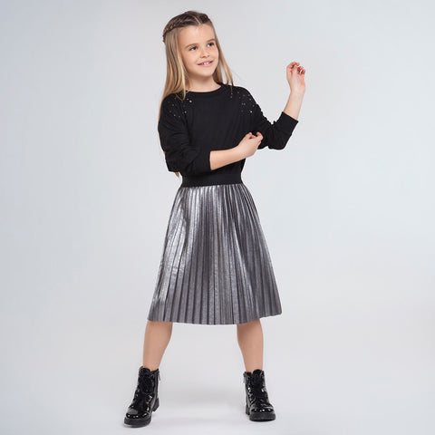 MYL 7948 8 Pleated Mid-Length Skirt