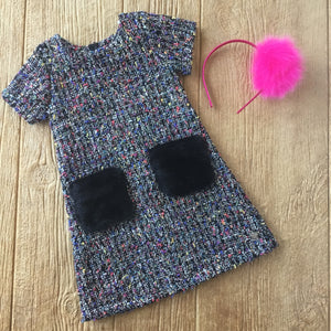 DPD C20M95 Unic Tweed Dress with Fake Fur Pockets