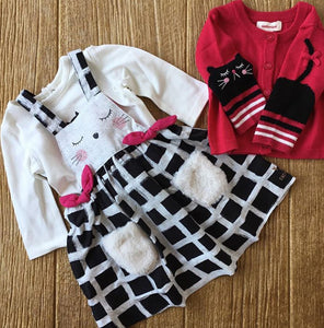 CP 30043 02 Checkered Jumper with White Long Sleeve Tee