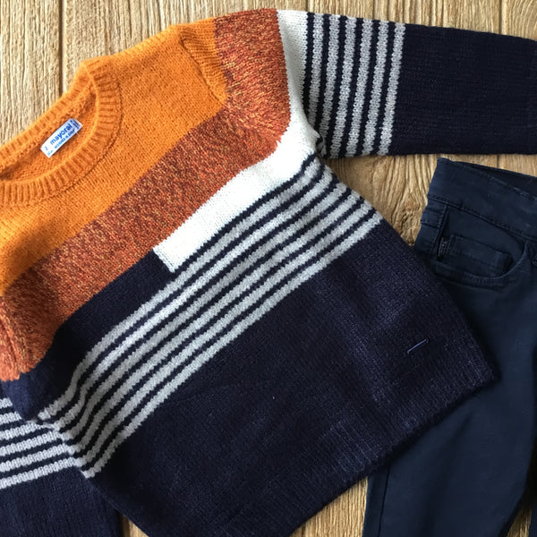 MYL 4328 Orange and Navy Sweater