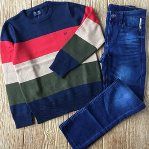 MYL 7319 10 Block Color Sweater