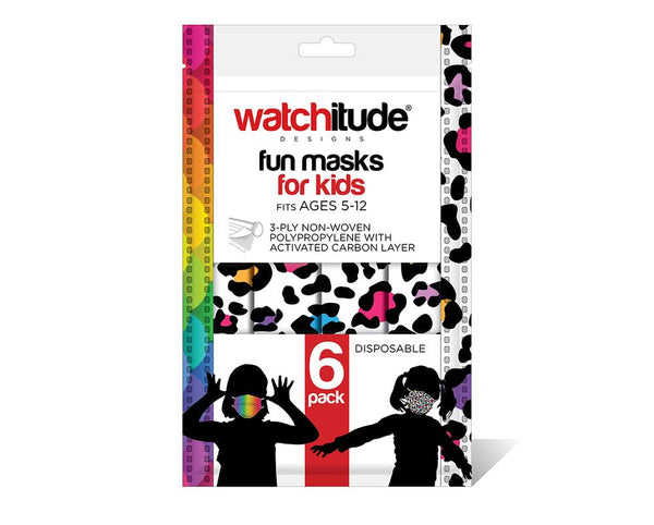 Disposable Masks Kids 6pack Leopard & Rainbow