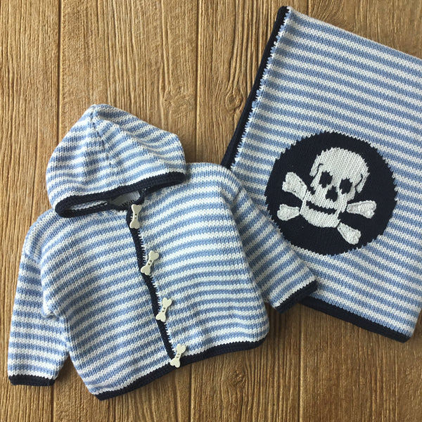 AW 371 Hooded Skull On Stripes Sweater