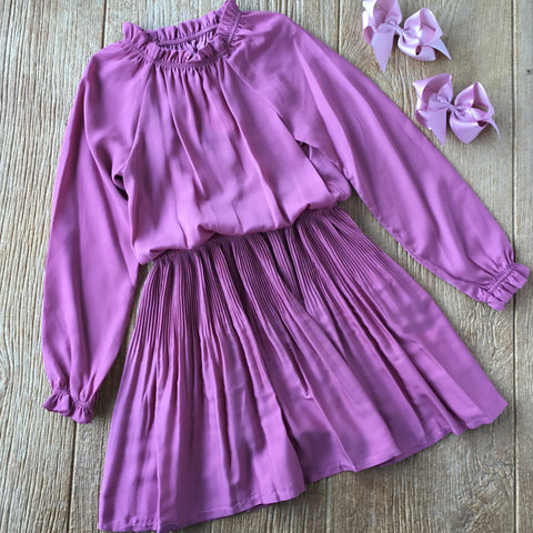 MYL 7968 70 Satin Pleated Grape Dress