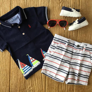 1149 25 Navy Polo with Sailboats