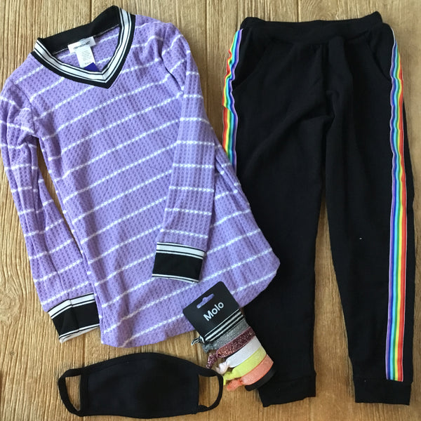 AC LT 122 Purple Striped Tunic
