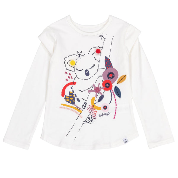 DPD C20F70 Off White Cotton Top with Koala Print