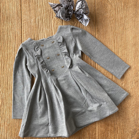 MYL 4967 80 Grey Dress with Gold Buttons