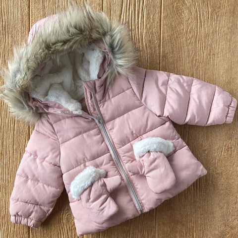 CP 42045 Pink Coat With Detachable Mittens
