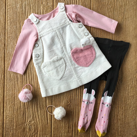 CP 30133 Corduroy Overall Dress with Pink Tee