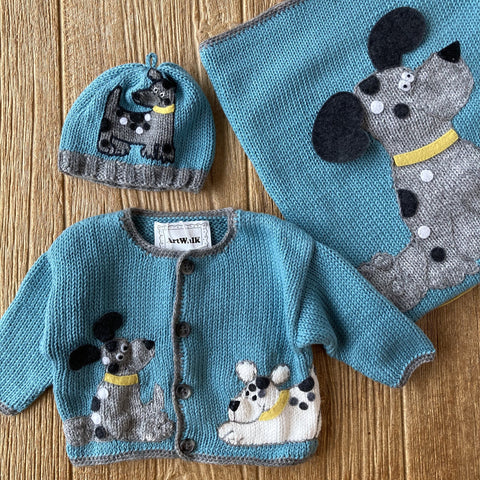 AW 443 Aqua with Grey Dogs Sweater