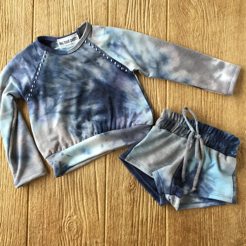 LTP Blue TyeDye Top w/ Blue Studs