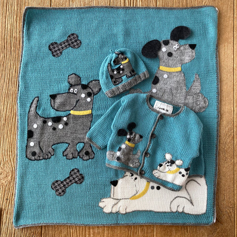 AW 443 Aqua with Grey Dogs Blanket