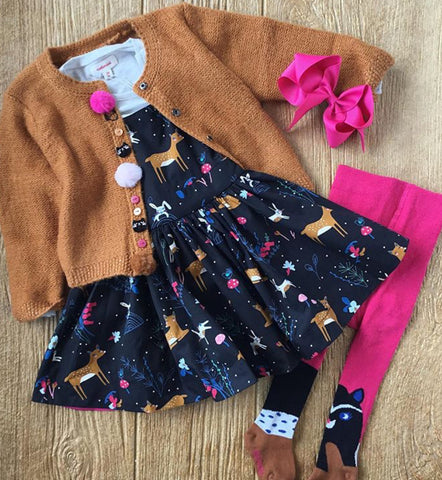 CP 30013 Animal Jumper Dress with Grey Long Sleeve Tee