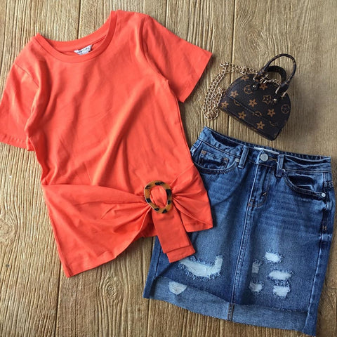 HBTL 02737s Orange Buckle Top