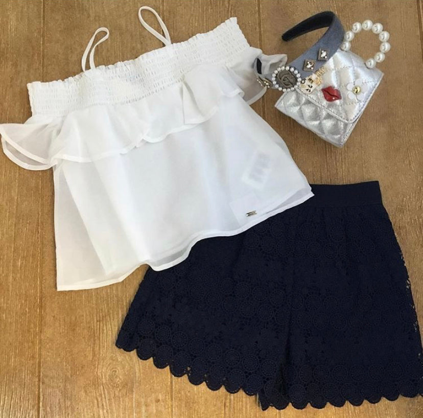 MYL 6251 Navy Eyelet Shorts