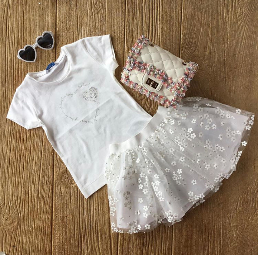 MYL 174 White Sparkle Heart Tee