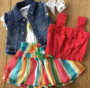 MYL 3322 Ruffled Denim Vest
