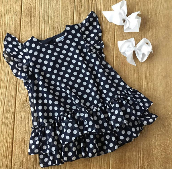 MYL 3957 Navy Polka Dot Dress