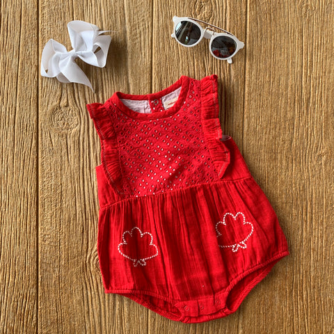 CAT 33041 36 Red Eyelet Romper