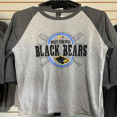 West Virginia Black Bears Heather Grey 3/4 Sleeve T-Shirt