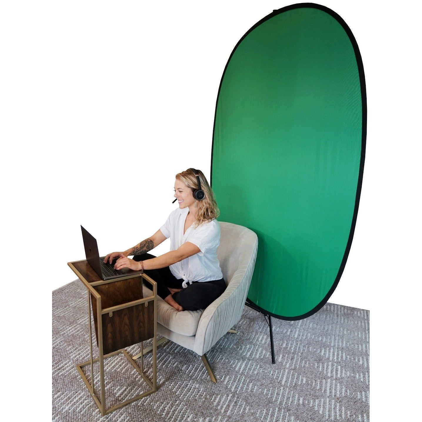 The Backdrop | Portable Webcam Green Screen - Remote Office Supplies