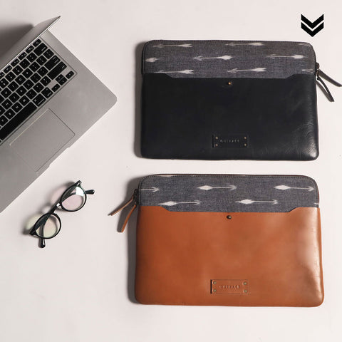 Leather laptop sleeve in two colours