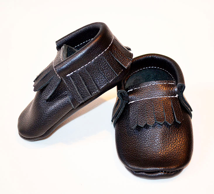 Pattern leather baby  moccasins