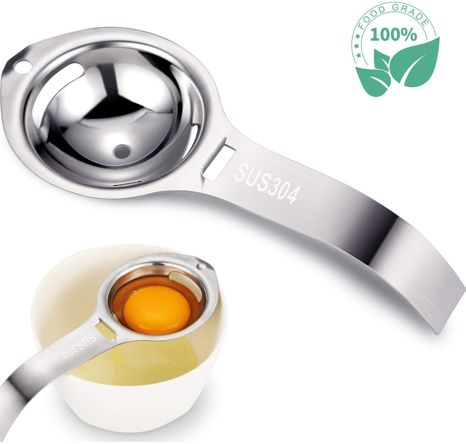 18/8 Stainless Steel Egg Separator, Dishwasher Safe Egg White Separator