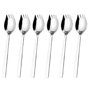 6-Piece 18/8 Stainless Steel Sporks Set for Everyday Household Use