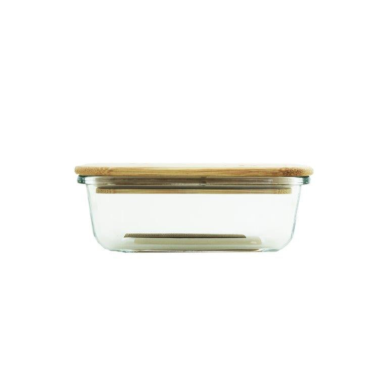 Glass Container With Bamboo Lid 370ml