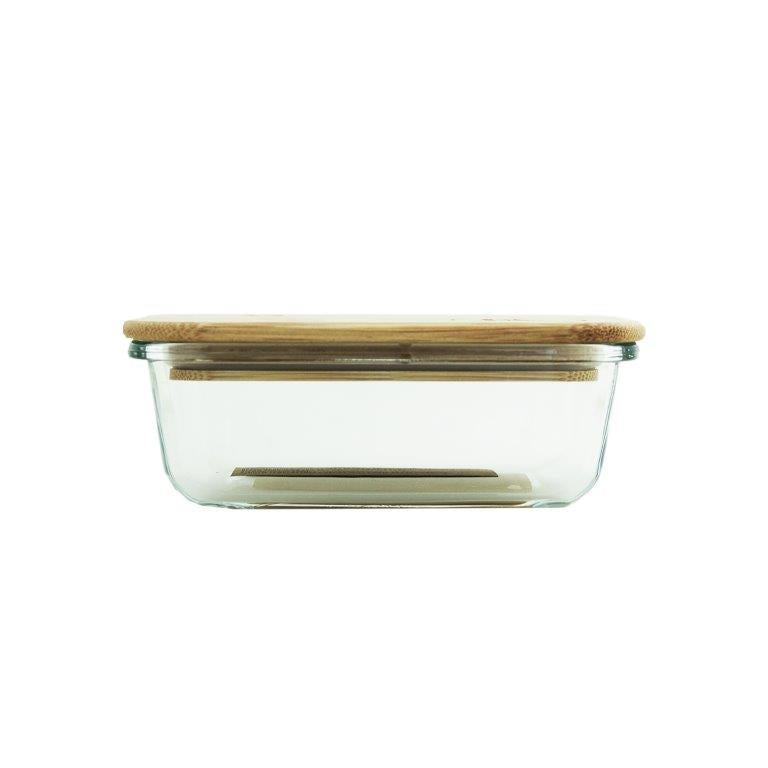 Glass Container With Bamboo Lid 640ml
