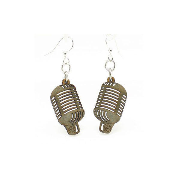 Microphone Wood Earrings