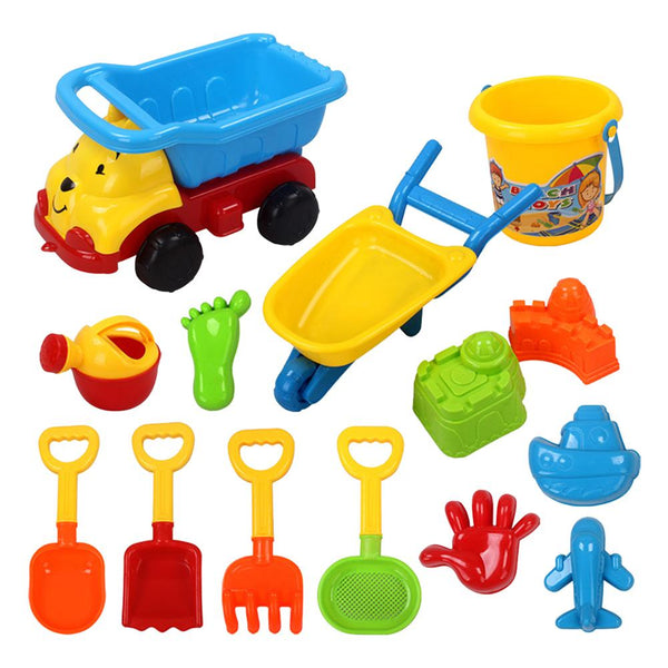 15PCS Beach Sand Toys Set With Bucket Shovels Summer Outdoor Playing Digging Tool Kit For Kids Toddlers